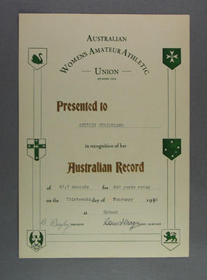AWAAU 440 yards relay record certificate, presented to Shirley Strickland 13 Feb 1950
