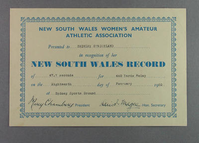 NSWWAAA 440 yards relay record certificate, presented to Shirley Strickland 18 Feb 1950