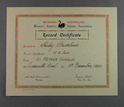 WAWAAA 80m hurdles record certificate, presented to Shirley Strickland 9 Dec 1950