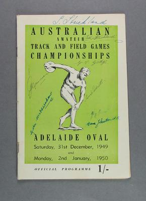 Programme, Australian Amateur Track & Field Games Championships 1949-50