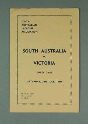 South Australia v Victoria, Lacrosse match program Saturday 23 July 1960