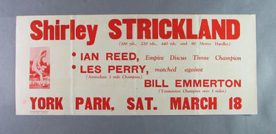 Poster advertising Shirley Strickland's appearance at York Park, 18 March 1950