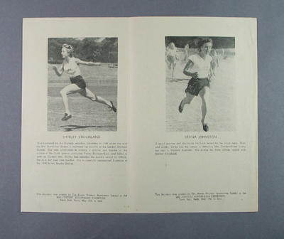 Souvenir flyer featuring various West Australian athletes, 1950