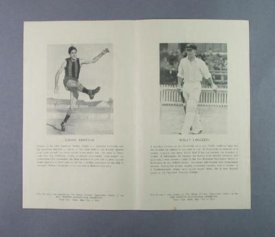 Souvenir flyer featuring various West Australian athletes, 1950; Documents and books; 2003.3903.520
