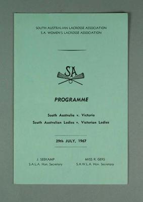 South Australian Lacrosse Association, S.A. Wo0men's Lacrosse Association Programme, 29 July 1967