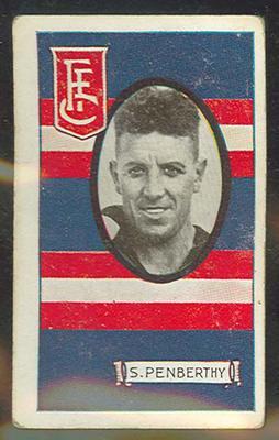 1933 Allen's Australian Football Stan Penberthy trade card; Documents and books; 1987.1871.40