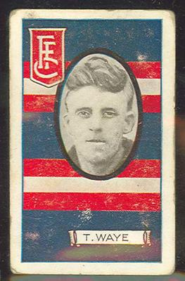 1933 Allen's Australian Football Tom Waye trade card; Documents and books; 1987.1871.41