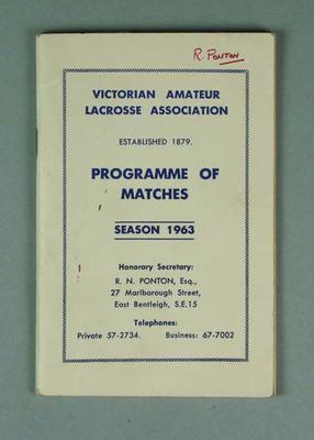 Victorian Amateur Lacrosse Association Programme of Matches Season 1963