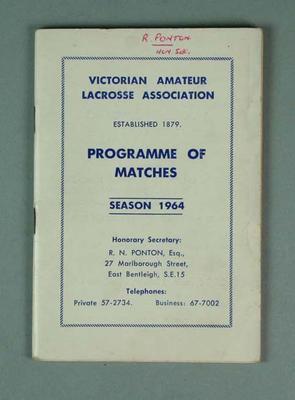 Victorian Amateur Lacrosse Association Programme of Matches Season 1964