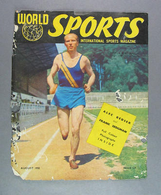 """Magazine cover, """"World Sports"""" August 1950"""