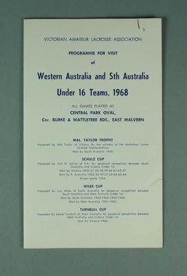 Victorian Amateur Lacrosse Association programme - Western Australia & South Australia Under 16 Teams 1968