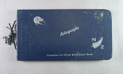 Autograph book presented to Shirley Strickland, 1950 British Empire Games