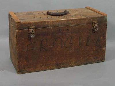 Wooden box marked 'V.A.M.P.A.' used to contain 1956 Olympic Games Fencing items; Sporting equipment; 1993.2938.1