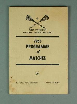 West Australian Lacrosse Association programme of matches 1965