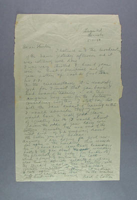 Letter from Frank Cotton to Shirley Strickland in Auckland, 5 Feb 1950