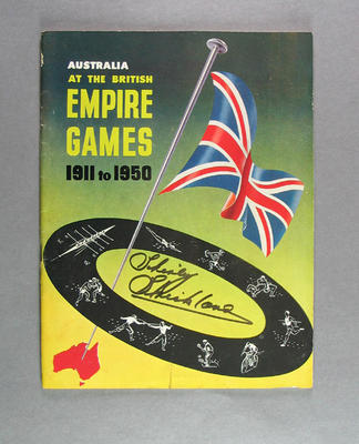 """Booklet, """"Australia at the British Empire Games 1911 to 1950"""" signed by Shirley Strickland"""