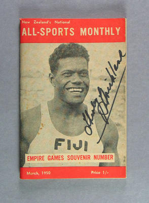 """Booklet, """"New Zealand's National All-Sports Monthly Empire Games Souvenir"""" 1950"""
