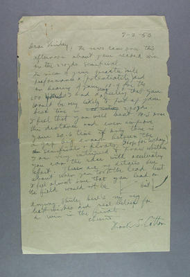 Letter from Frank Cotton to Shirley Strickland in Auckland, 7 Feb 1950