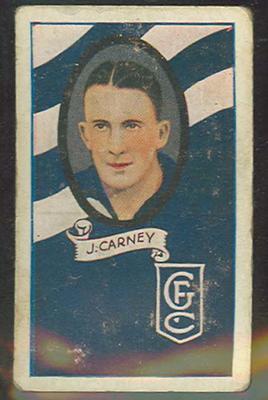 1933 Allen's Australian Football Jack Carney trade card