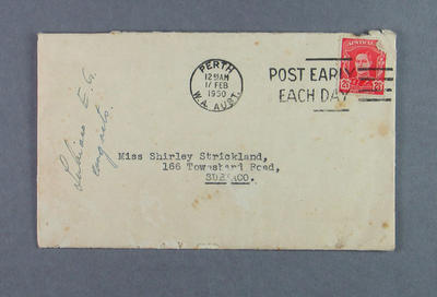 Envelope addressed to Shirley Strickland from Subiaco Mayor, 15 Feb 1950