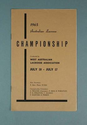 Two copies of 1965 Australian Lacrosse Championship programme 10-17 July