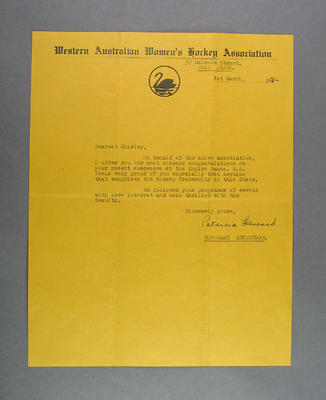 Letter from WA Women's Hockey Association to Shirley Strickland, 1 Mar 1950