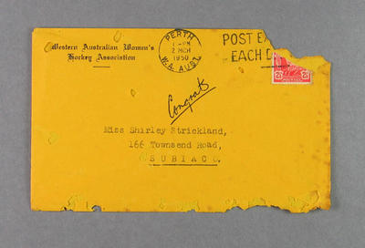 Envelope from WA Women's Hockey Association to Shirley Strickland, 1 Mar 1950