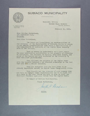 Letter of congratulations to Shirley Strickland from Subiaco Mayor, 15 Feb 1950