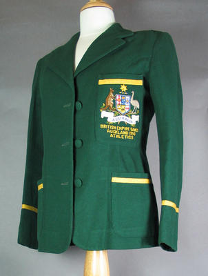 Blazer, worn by Shirley Strickland at 1950 British Empire Games