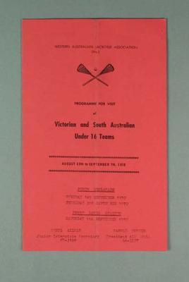 Western Australian Lacrosse Association Programme - Victorian & South Australian Under 16 - 30 August - 7 September 1930