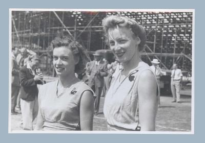 Photograph of Verna Johnston and Shirley Strickland, 1950 British Empire Games