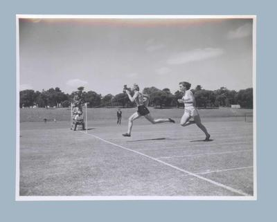 Photograph of Shirley Strickland winning a running race, 1950 Empire Games; Photography; 2003.3903.601