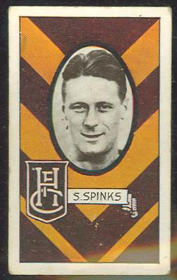 1933 Allen's Australian Football Stan Spinks trade card; Documents and books; 1987.1871.58