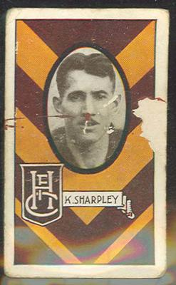 1933 Allen's Australian Football Keith Sharpley trade card; Documents and books; 1987.1871.59