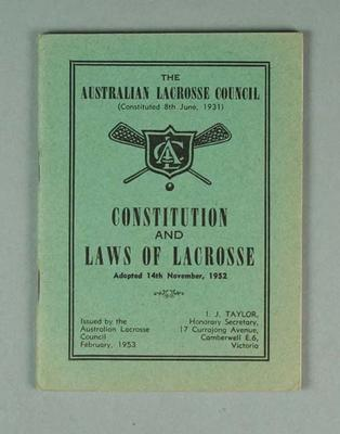 The Australian Lacrosse Council  Constitution and Laws of Lacrosse booklet, adopted 14 August 1952 - 2 copies