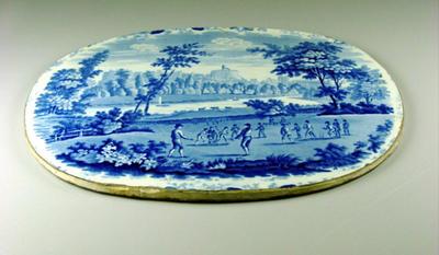 Ceramic plaque, image of cricket match at Windsor Castle c1820; Civic mementoes; M4350