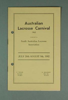 Australian Lacrosse Carnival programme 28 July-9 August 1962