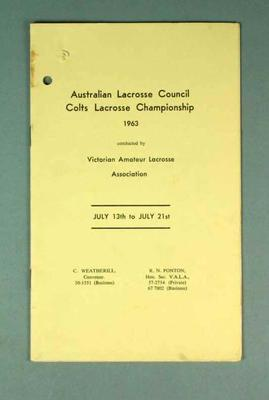 Australian Lacrosse Colts Championship, 13-21 July 1963
