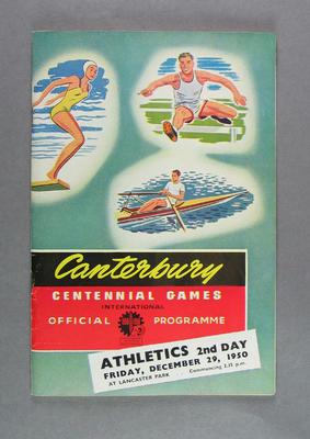 Programme for Canterbury Centennial Games athletics events, 29 Dec 1950