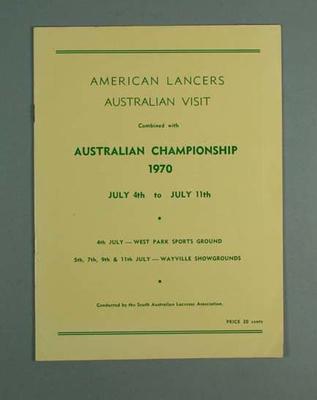 Australian Championship programme - American Lancers Australian Visit - 4-11 July 1970