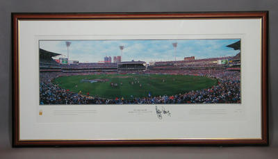 Panoramic photograph of Melbourne Cricket Ground, 1999 AFL Grand Final; Photography; Framed; M12029