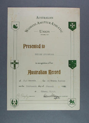 AWAAU Record Certificate presented to Shirley Strickland, 13 Jan 1951