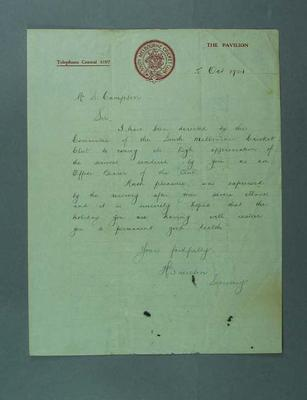 Letter addressed to S Campton regarding service to Sth Melb Cricket Club, 5 Oct 1921