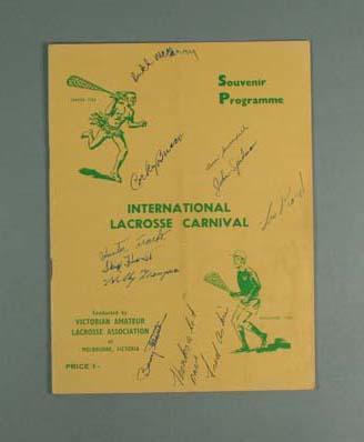 Autographed International Lacrosse Carnival souvenir programme - Melbourne 1959