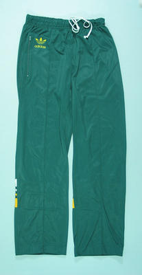 Dark green, 1988 Australian Soccer team, 'Socceroos', tracksuit pants worn by Alan Davidson
