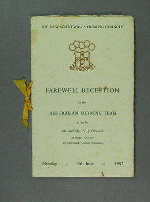Programme for Farewell Reception to Australian Olympic Team, 9 June 1952