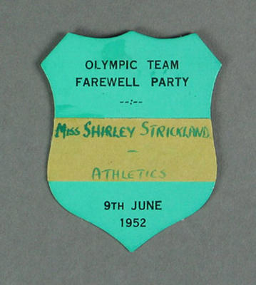 Olympic Team Farewell Party name tag, worn by Shirley Strickland