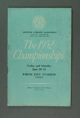 Programme for Amateur Athletics Association Championships, London 1952