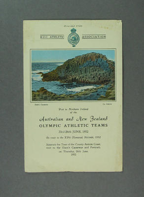 Itinerary for Australian & New Zealand athletic tour of Northern Ireland, 1952