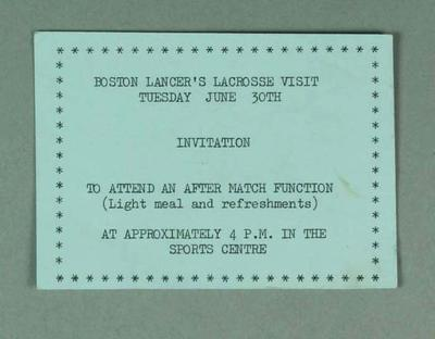 Invitation, after match function, Boston Lancer's Lacrosse Visit, 30 June